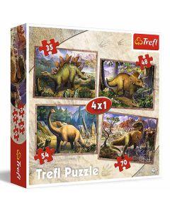 Dinosaur Puslespil 4x1 35 brikker